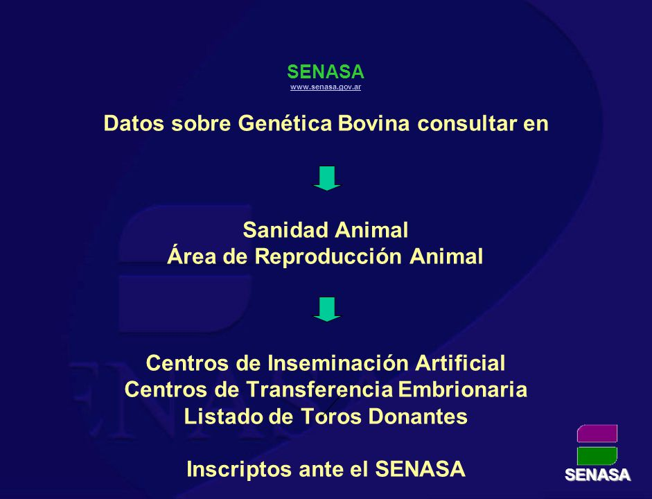 SENASA www.senasa.gov.ar Datos sobre Genética Bovina consultar en Sanidad Animal Área de Reproducción Animal Centros de Inseminación Artificial Centro