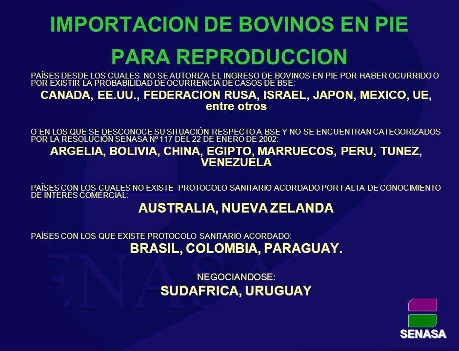 IMPORTACION SEMEN BOVINO CONGELADO EXISTE PROTOCOLO SANITARIO ACORDADO: ALEMANIA, AUSTRALIA, BELGICA, BRASIL, CANADA, COLOMBIA, DINAMARCA, EE.UU., ESPAÑA, FRANCIA, HOLANDA, ITALIA, NORUEGA, NUEVA ZELANDIA, PARAGUAY, REINO UNIDO, REP CHECA, SUECIA, SUIZA, URUGUAY NO EXISTE PROTOCOLO SANITARIO ACORDADO POR FALTA DE CONOCIMIENTO DE INTERES COMERCIAL: ARGELIA, BOLIVIA, CHINA, EGIPTO, ESTONIA, MARRUECOS, PERU, TUNEZ, VENEZUELA NEGOCIANDOSE: MEXICO SENASA