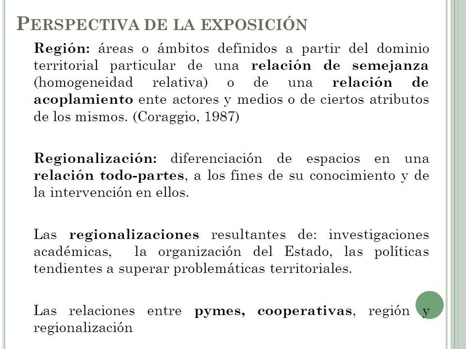 R EGIÓN Y REGIONALIZACIÓN Diferentes perspectivas académicas según disciplina y tradición disciplinar (Geografía y Economía Regional) y según políticas públicas.