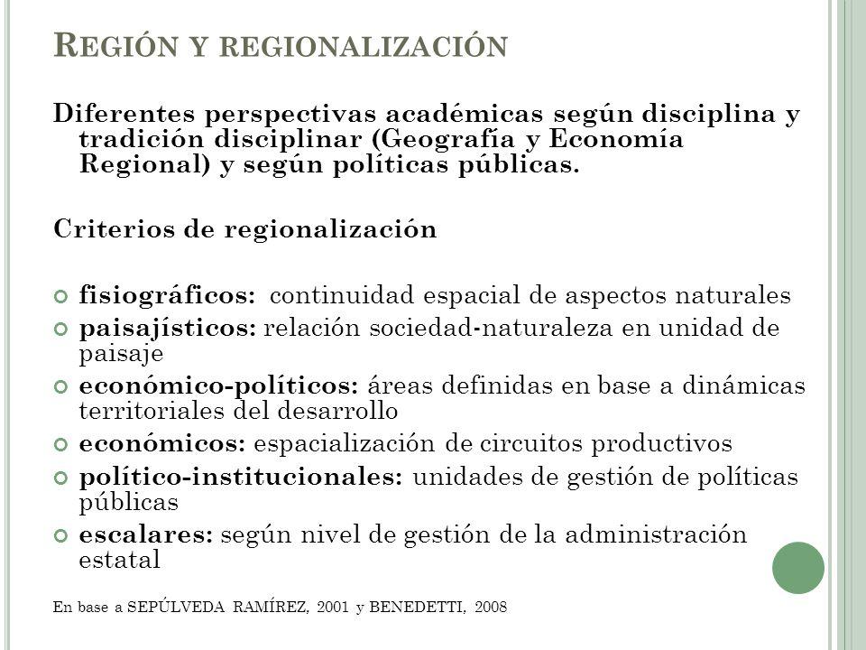 Predominio de criterios fisiográficos Extraído de QUINTERO, 2002