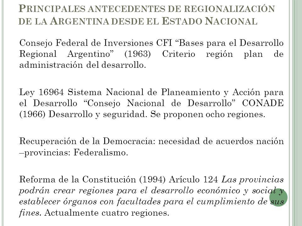 Extraído de BENEDETTI, 2008 Regionalización CONADE, 1966