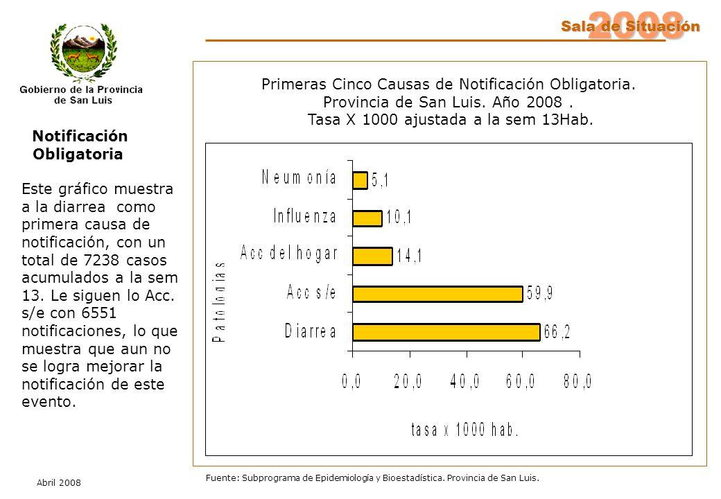 2008 Sala de Situación Abril 2008 Fuente: Subprograma de Epidemiología y Bioestadística. Provincia de San Luis. Notificación Obligatoria Este gráfico