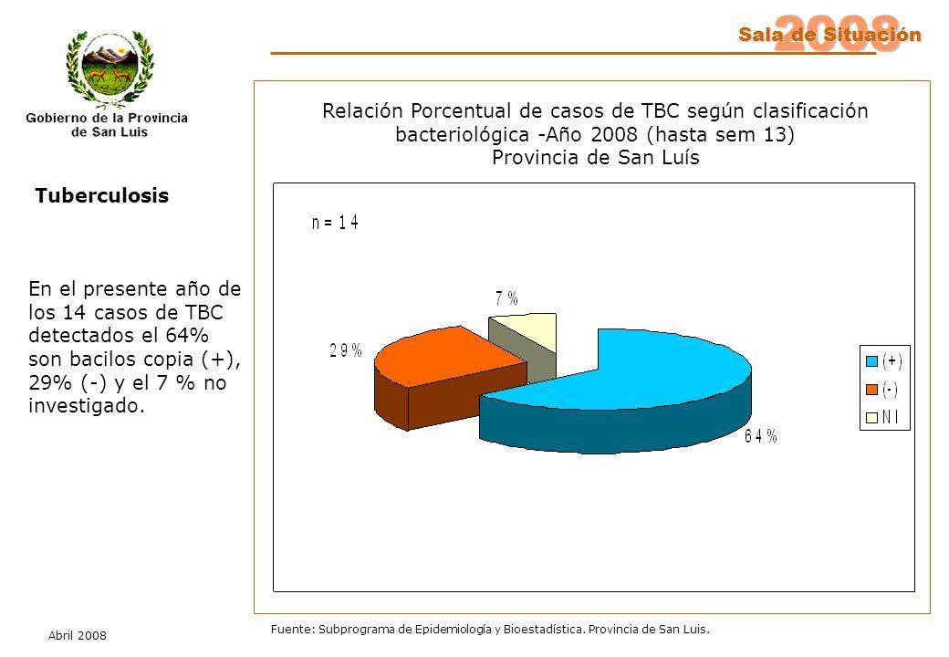 2008 Sala de Situación Abril 2008 Fuente: Subprograma de Epidemiología y Bioestadística. Provincia de San Luis. En el presente año de los 14 casos de