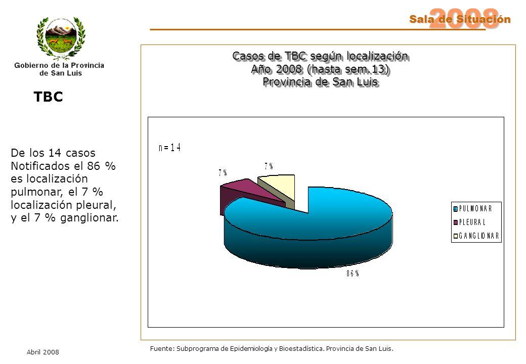2008 Sala de Situación Abril 2008 Fuente: Subprograma de Epidemiología y Bioestadística. Provincia de San Luis. Casos de TBC según localización Año 20
