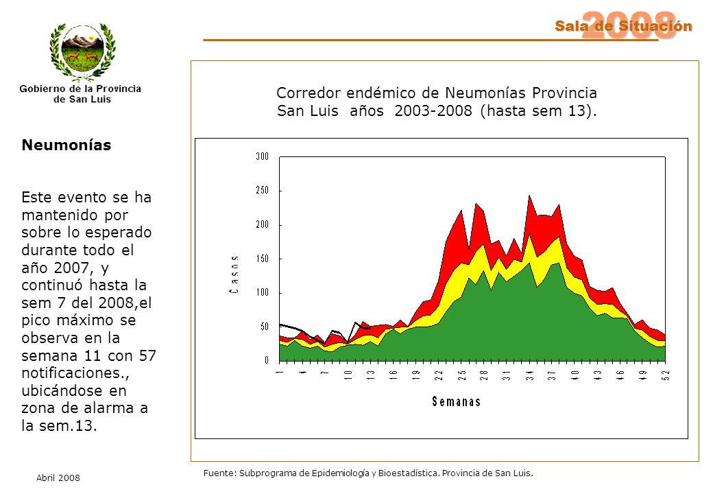 2008 Sala de Situación Abril 2008 Fuente: Subprograma de Epidemiología y Bioestadística. Provincia de San Luis. Neumonías Este evento se ha mantenido