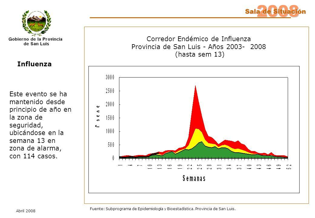 2008 Sala de Situación Abril 2008 Fuente: Subprograma de Epidemiología y Bioestadística. Provincia de San Luis. Influenza Este evento se ha mantenido