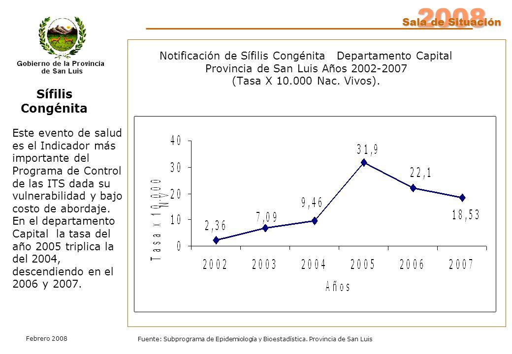2008 Sala de Situación Fuente: Subprograma de Epidemiología y Bioestadística. Provincia de San Luis Febrero 2008 Notificación de Sífilis Congénita Dep