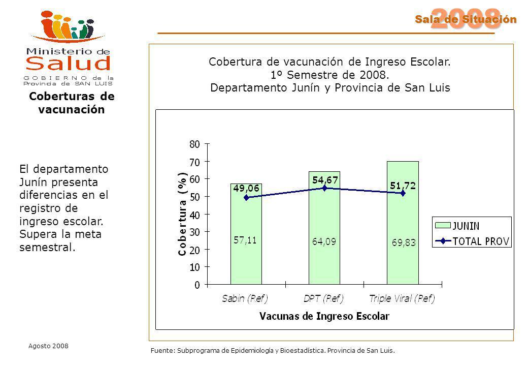 2008 Sala de Situación Agosto 2008 Fuente: Subprograma de Epidemiología y Bioestadística. Provincia de San Luis. Coberturas de vacunación El departame