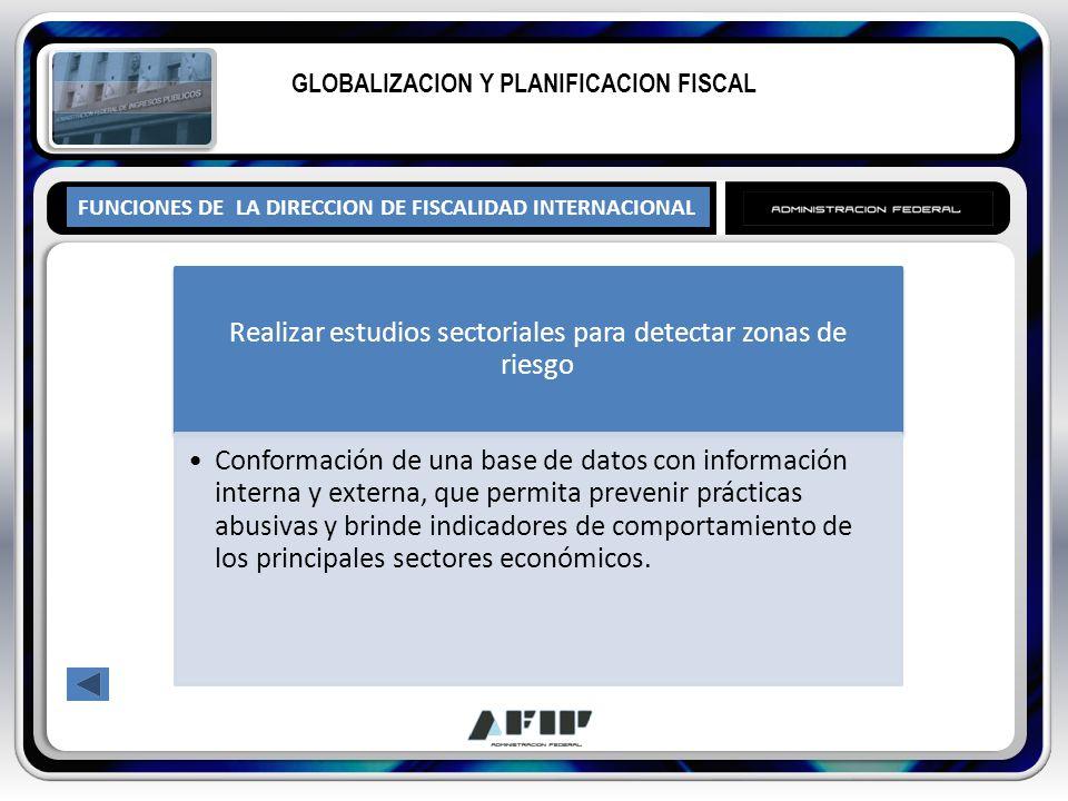 FUNCIONES DE LA DIRECCION DE FISCALIDAD INTERNACIONAL GLOBALIZACION Y PLANIFICACION FISCAL Realizar estudios sectoriales para detectar zonas de riesgo