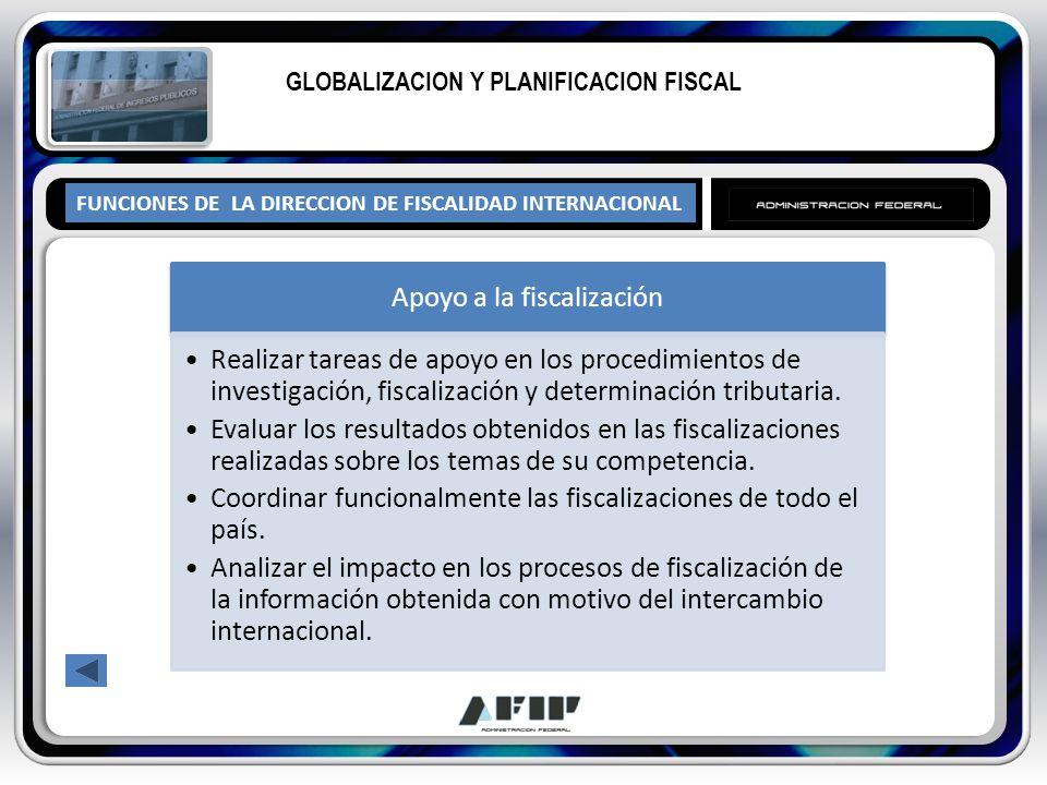 FUNCIONES DE LA DIRECCION DE FISCALIDAD INTERNACIONAL GLOBALIZACION Y PLANIFICACION FISCAL Apoyo a la fiscalización Realizar tareas de apoyo en los pr