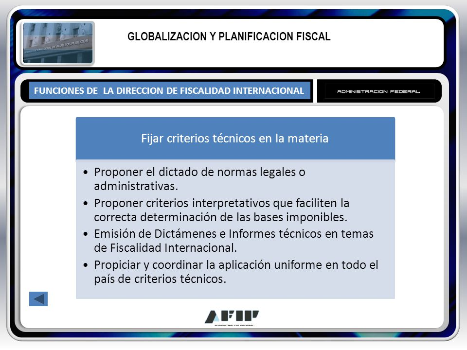 FUNCIONES DE LA DIRECCION DE FISCALIDAD INTERNACIONAL GLOBALIZACION Y PLANIFICACION FISCAL Fijar criterios técnicos en la materia Proponer el dictado