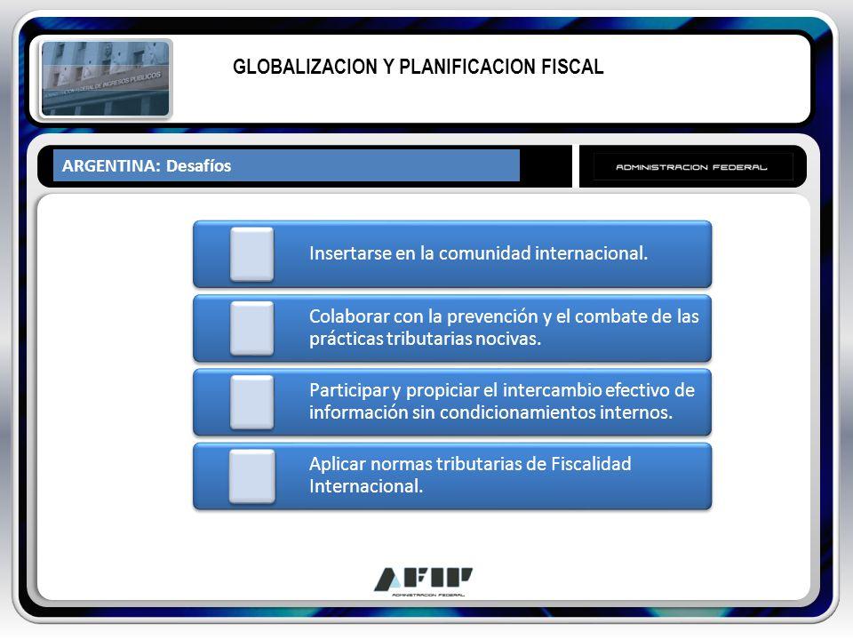 ARGENTINA: Desafíos GLOBALIZACION Y PLANIFICACION FISCAL Insertarse en la comunidad internacional. Colaborar con la prevención y el combate de las prá