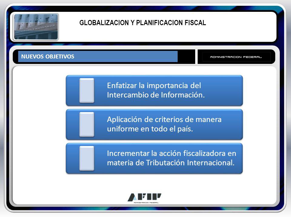 NUEVOS OBJETIVOS GLOBALIZACION Y PLANIFICACION FISCAL Enfatizar la importancia del Intercambio de Información. Aplicación de criterios de manera unifo