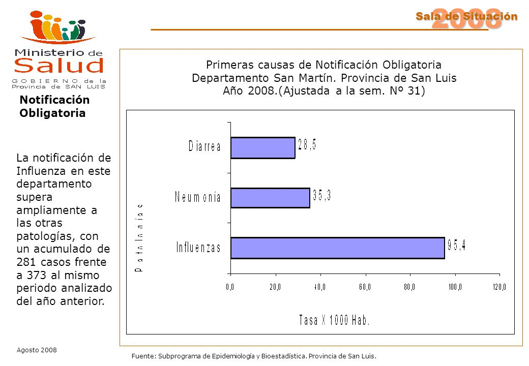 2008 Sala de Situación Agosto 2008 Fuente: Subprograma de Epidemiología y Bioestadística. Provincia de San Luis. Notificación Obligatoria Primeras cau