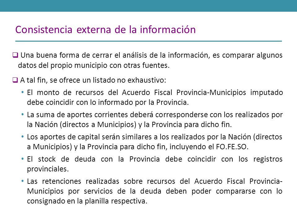 Consistencia externa de la información Una buena forma de cerrar el análisis de la información, es comparar algunos datos del propio municipio con otr