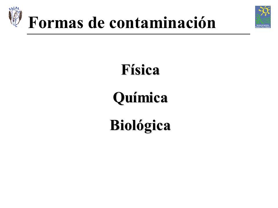 Formas de contaminación FísicaQuímicaBiológica