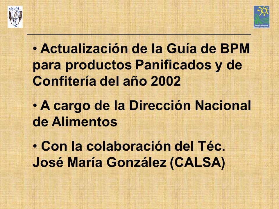 Actualización de la Guía de BPM para productos Panificados y de Confitería del año 2002 A cargo de la Dirección Nacional de Alimentos Con la colaborac