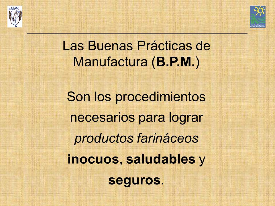 Las Buenas Prácticas de Manufactura (B.P.M.) Son los procedimientos necesarios para lograr productos farináceos inocuos, saludables y seguros.