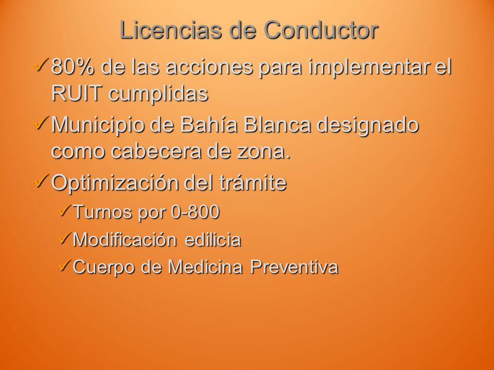 Licencias de Conductor 80% de las acciones para implementar el RUIT cumplidas 80% de las acciones para implementar el RUIT cumplidas Municipio de Bahía Blanca designado como cabecera de zona.