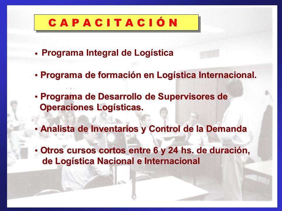 PROGRAMAS DE FORMACIÓN: C A P A C I T A C I Ó N Programa Integral de Logística Programa de formación en Logística Internacional. Programa de Desarroll