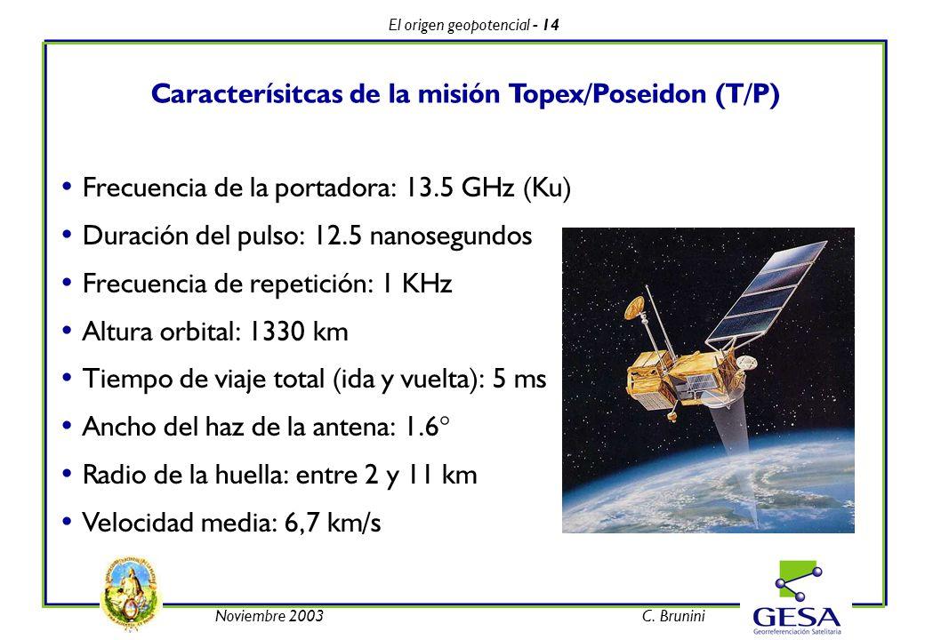 El origen geopotencial - 14 Noviembre 2003C. Brunini Caracterísitcas de la misión Topex/Poseidon (T/P) Frecuencia de la portadora: 13.5 GHz (Ku) Durac