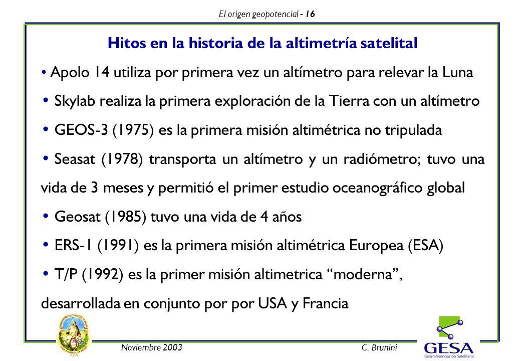 El origen geopotencial - 16 Noviembre 2003C. Brunini Hitos en la historia de la altimetría satelital Apolo 14 utiliza por primera vez un altímetro par