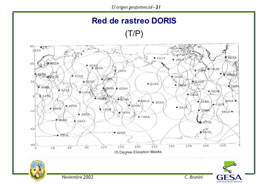 El origen geopotencial - 21 Noviembre 2003C. Brunini Red de rastreo DORIS (T/P)