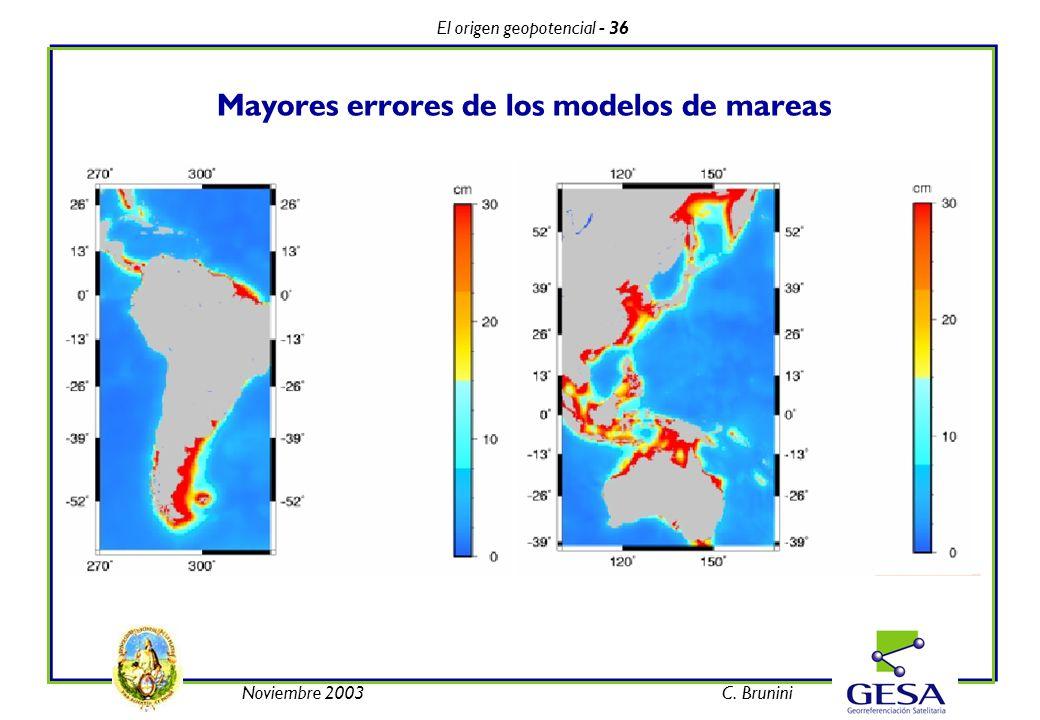 El origen geopotencial - 36 Noviembre 2003C. Brunini Mayores errores de los modelos de mareas