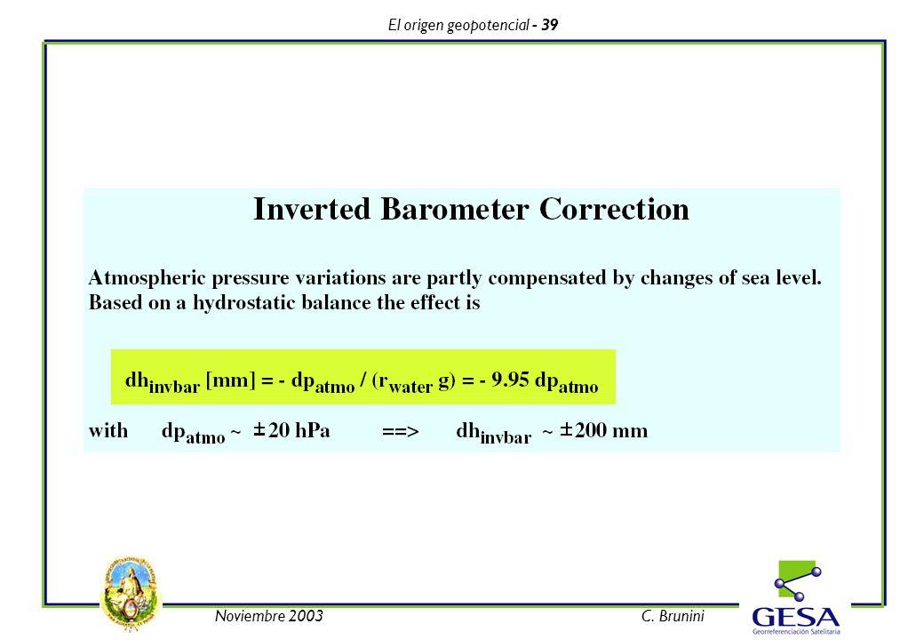 El origen geopotencial - 39 Noviembre 2003C. Brunini