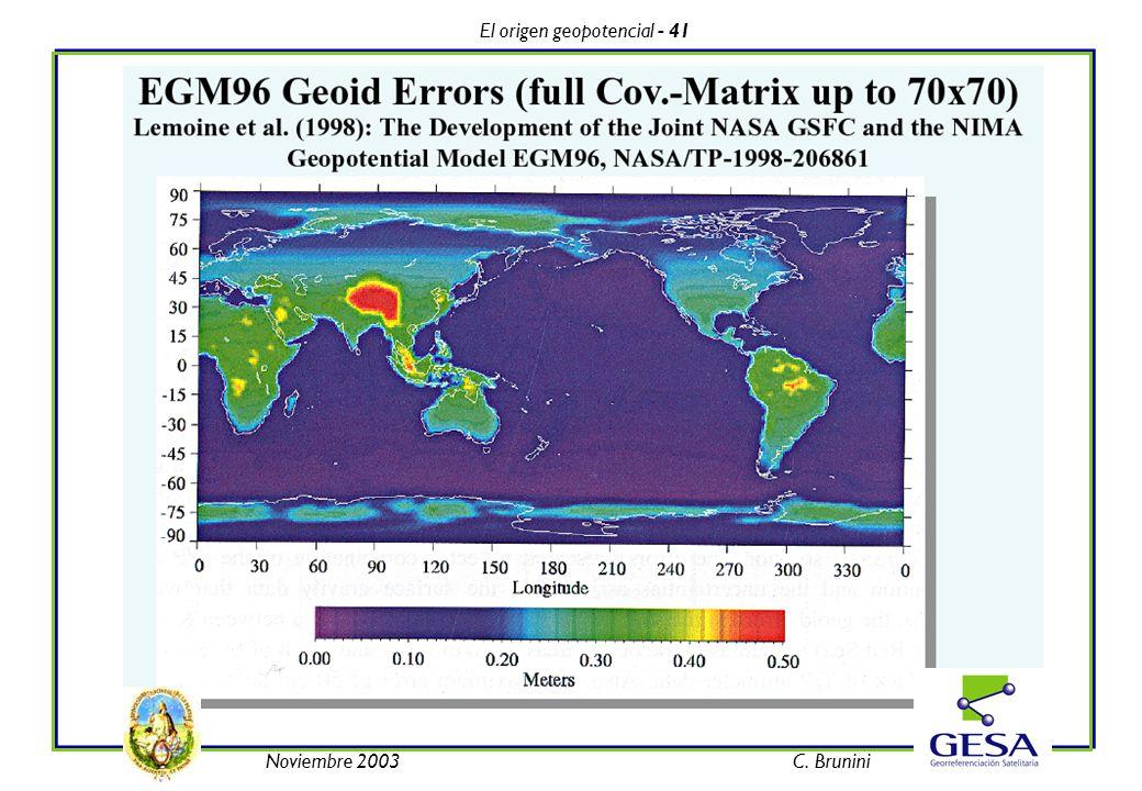 El origen geopotencial - 41 Noviembre 2003C. Brunini