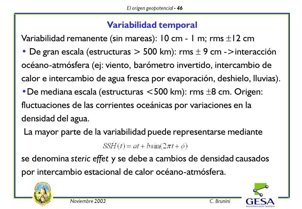El origen geopotencial - 46 Noviembre 2003C. Brunini Variabilidad temporal Variabilidad remanente (sin mareas): 10 cm - 1 m; rms 12 cm De gran escala