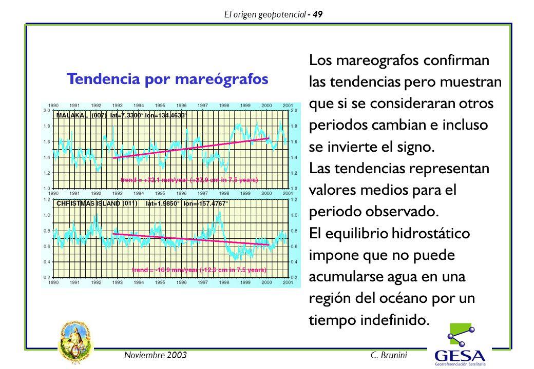 El origen geopotencial - 49 Noviembre 2003C. Brunini Los mareografos confirman las tendencias pero muestran que si se consideraran otros periodos camb