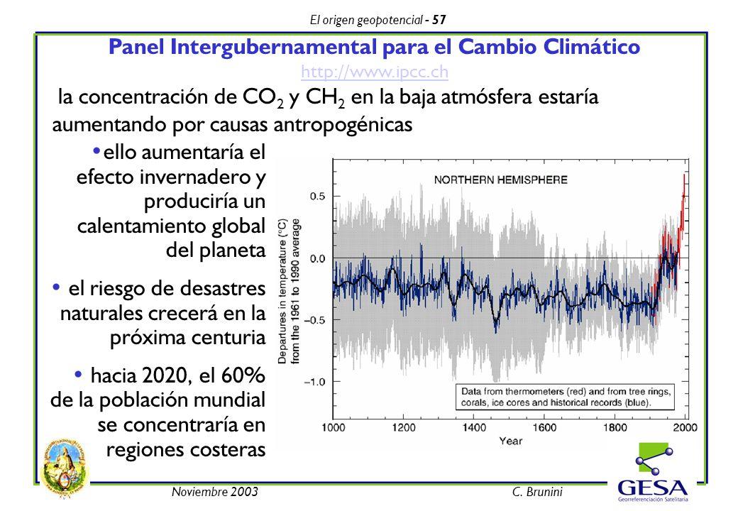 El origen geopotencial - 57 Noviembre 2003C. Brunini Panel Intergubernamental para el Cambio Climático http://www.ipcc.ch http://www.ipcc.ch la concen