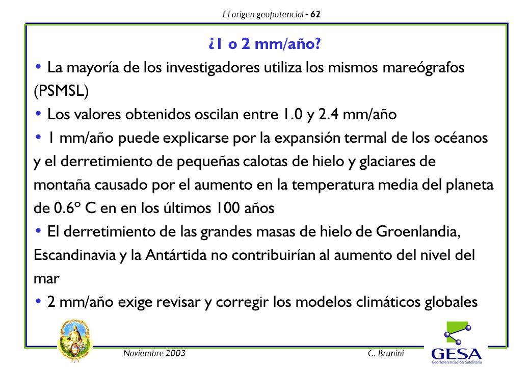 El origen geopotencial - 62 Noviembre 2003C. Brunini ¿1 o 2 mm/año? La mayoría de los investigadores utiliza los mismos mareógrafos (PSMSL) Los valore