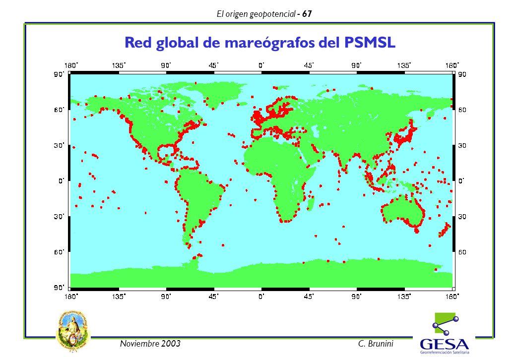 El origen geopotencial - 67 Noviembre 2003C. Brunini Red global de mareógrafos del PSMSL