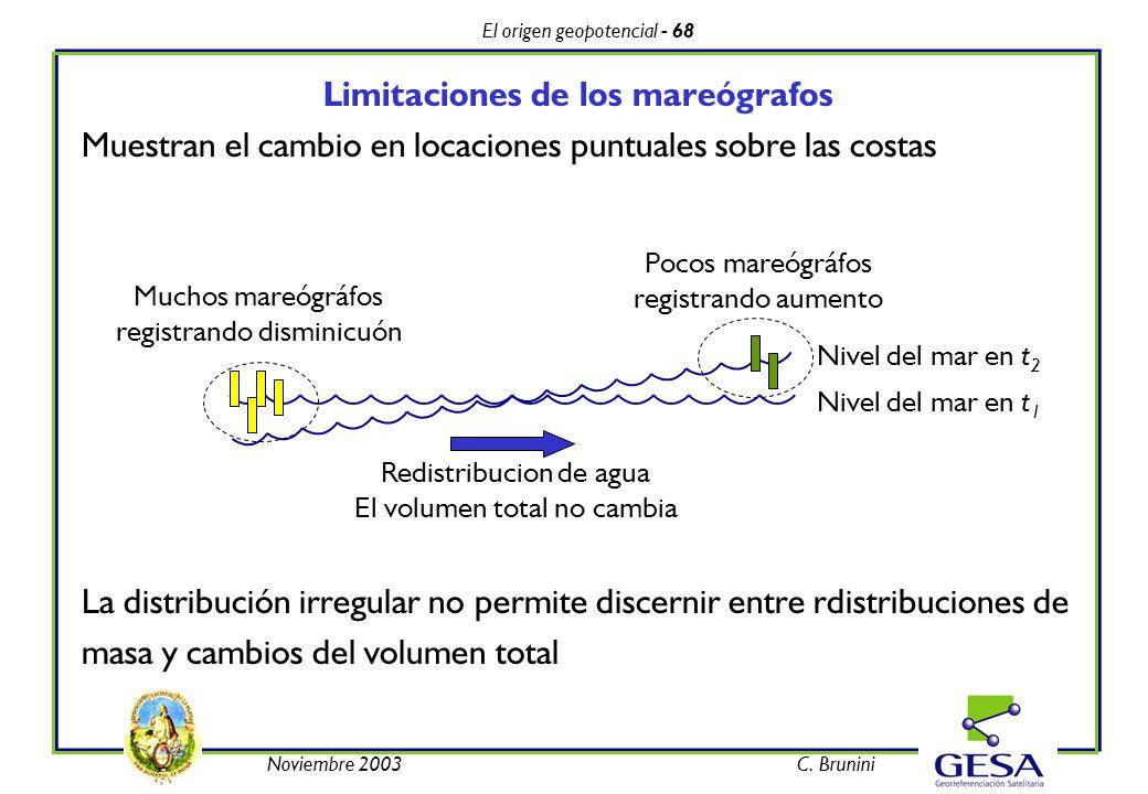 El origen geopotencial - 68 Noviembre 2003C. Brunini Limitaciones de los mareógrafos Muestran el cambio en locaciones puntuales sobre las costas La di