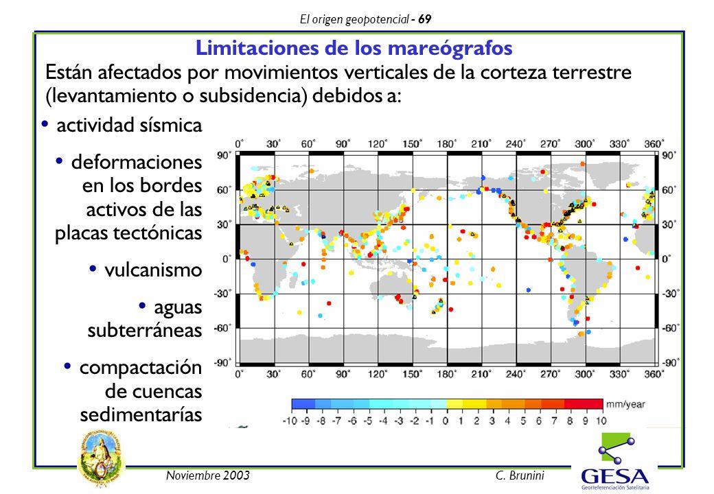 El origen geopotencial - 69 Noviembre 2003C. Brunini Limitaciones de los mareógrafos Están afectados por movimientos verticales de la corteza terrestr