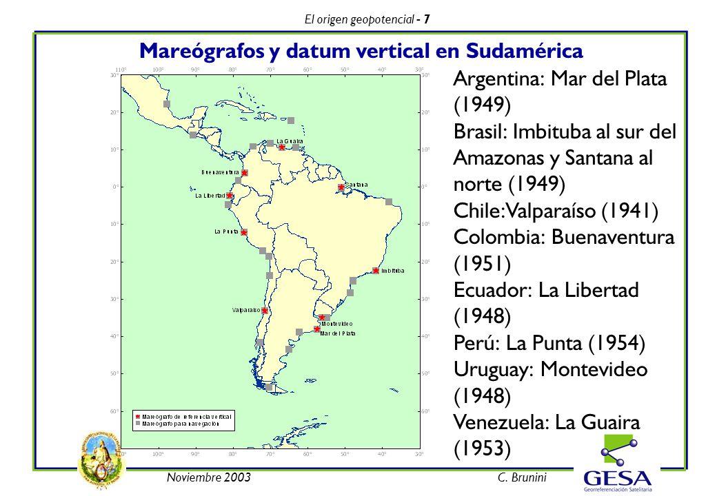 El origen geopotencial - 7 Noviembre 2003C. Brunini Mareógrafos y datum vertical en Sudamérica Argentina: Mar del Plata (1949) Brasil: Imbituba al sur