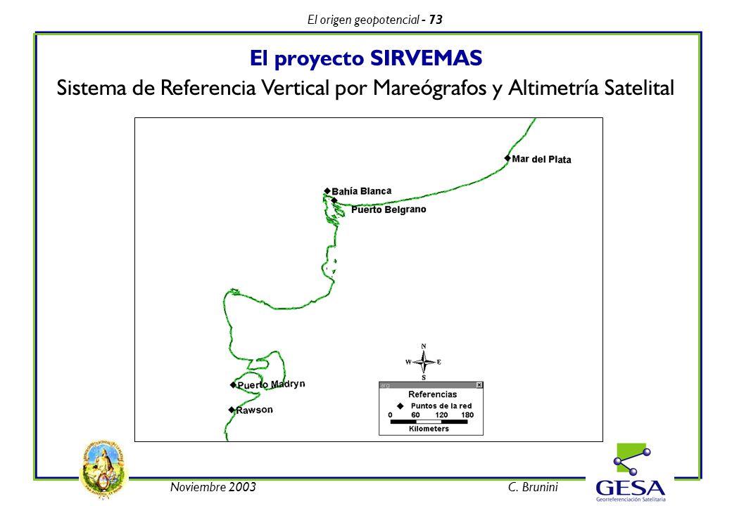 El origen geopotencial - 73 Noviembre 2003C. Brunini El proyecto SIRVEMAS Sistema de Referencia Vertical por Mareógrafos y Altimetría Satelital