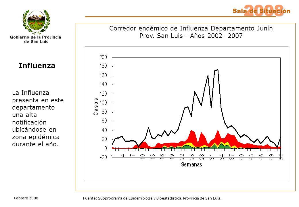 2008 Sala de Situación Febrero 2008 Fuente: Subprograma de Epidemiología y Bioestadística.