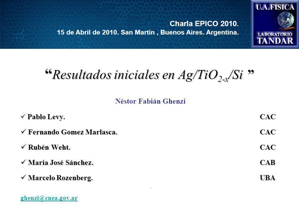 Resultados iniciales en Ag/TiO 2-x /Si Resultados iniciales en Ag/TiO 2-x /Si Néstor Fabián Ghenzi Pablo Levy.