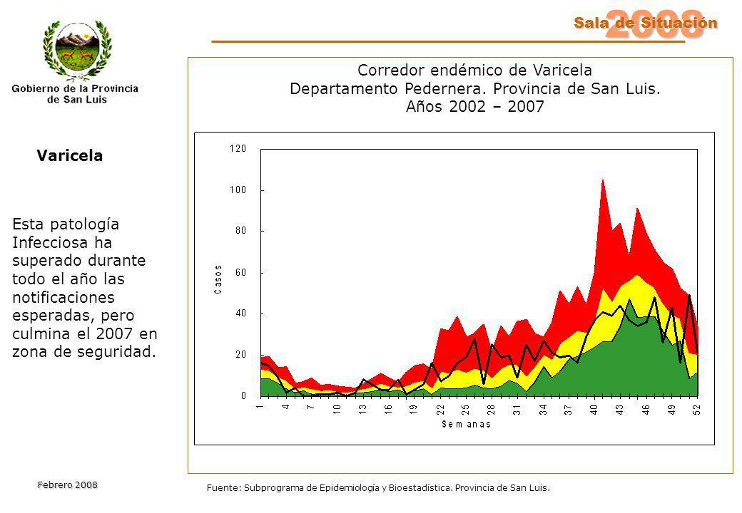 2008 Sala de Situación Sala de Situación Febrero 2008 Fuente: Subprograma de Epidemiología y Bioestadística. Provincia de San Luis. Esta patología Inf