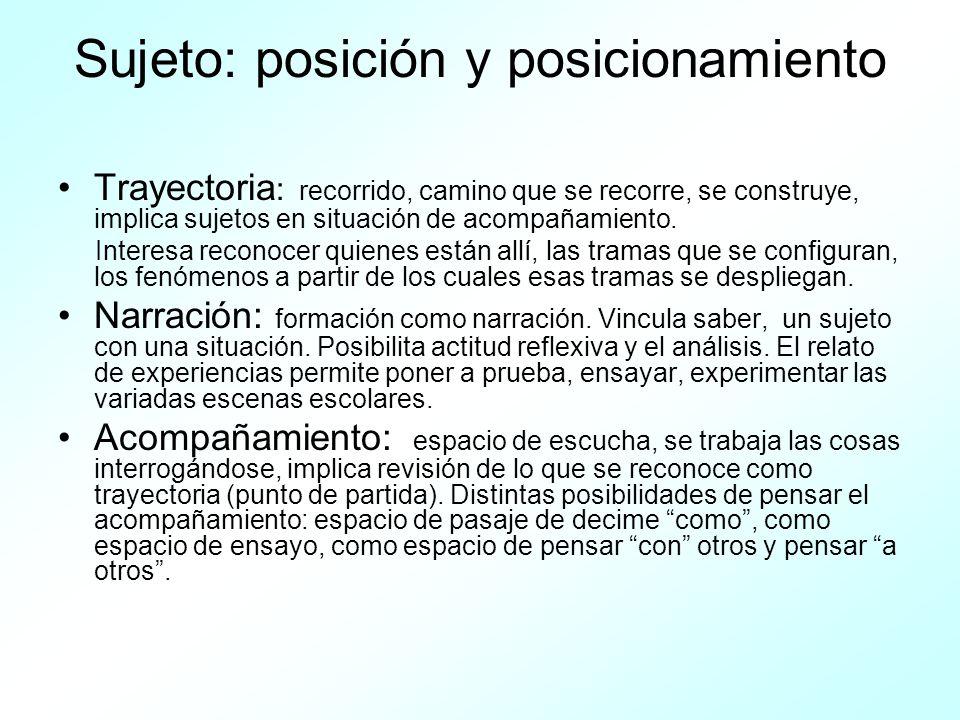 Sujeto: posición y posicionamiento Trayectoria : recorrido, camino que se recorre, se construye, implica sujetos en situación de acompañamiento. Inter