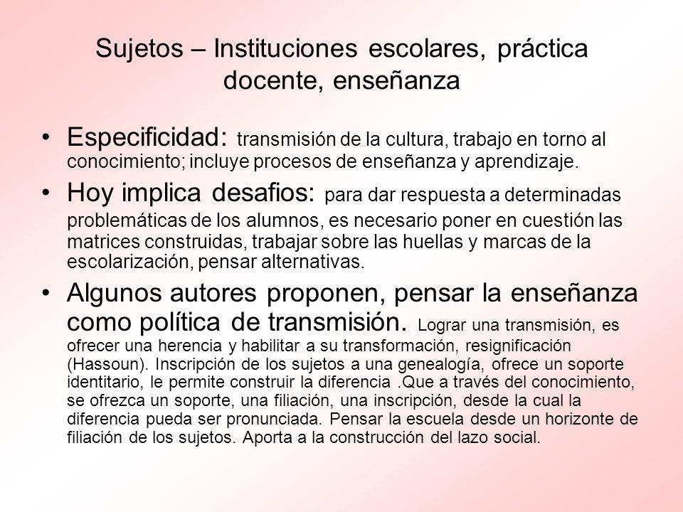 Sujetos – Instituciones escolares, práctica docente, enseñanza Especificidad: transmisión de la cultura, trabajo en torno al conocimiento; incluye pro