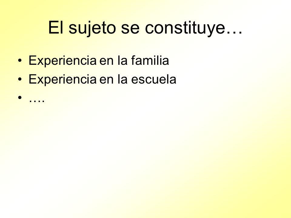El sujeto se constituye… Experiencia en la familia Experiencia en la escuela ….