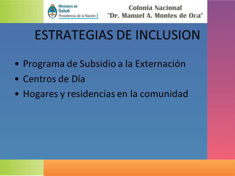 ESTRATEGIAS DE INCLUSION Programa de Subsidio a la Externación Centros de Día Hogares y residencias en la comunidad