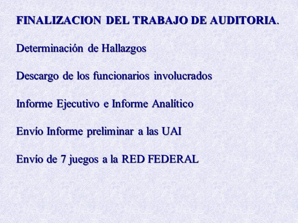 FINALIZACION DEL TRABAJO DE AUDITORIA.
