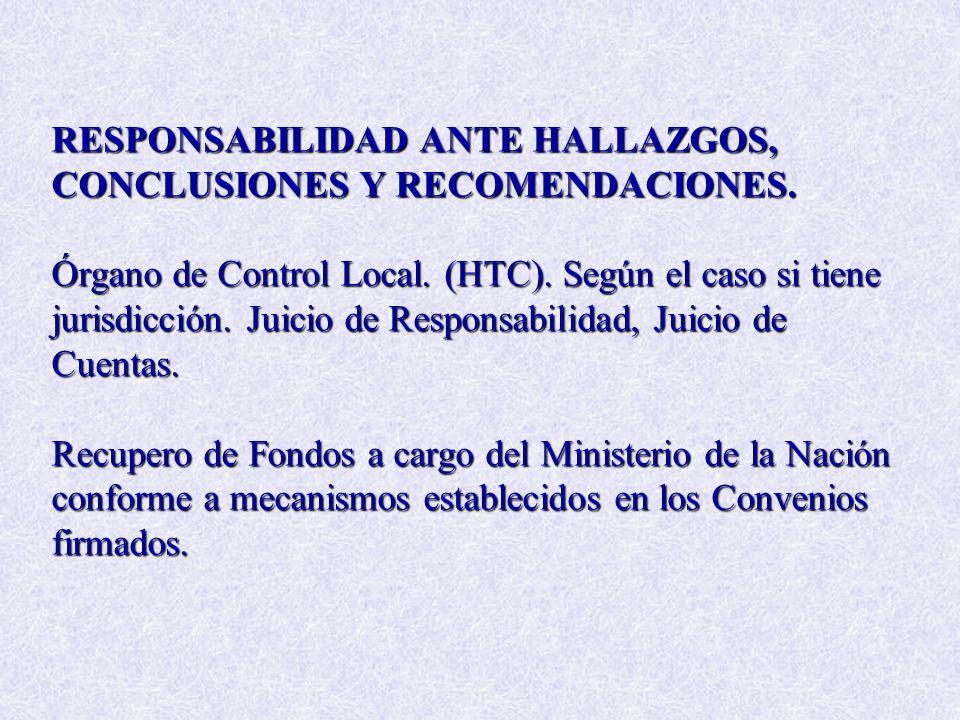 RESPONSABILIDAD ANTE HALLAZGOS, CONCLUSIONES Y RECOMENDACIONES. Órgano de Control Local. (HTC). Según el caso si tiene jurisdicción. Juicio de Respons