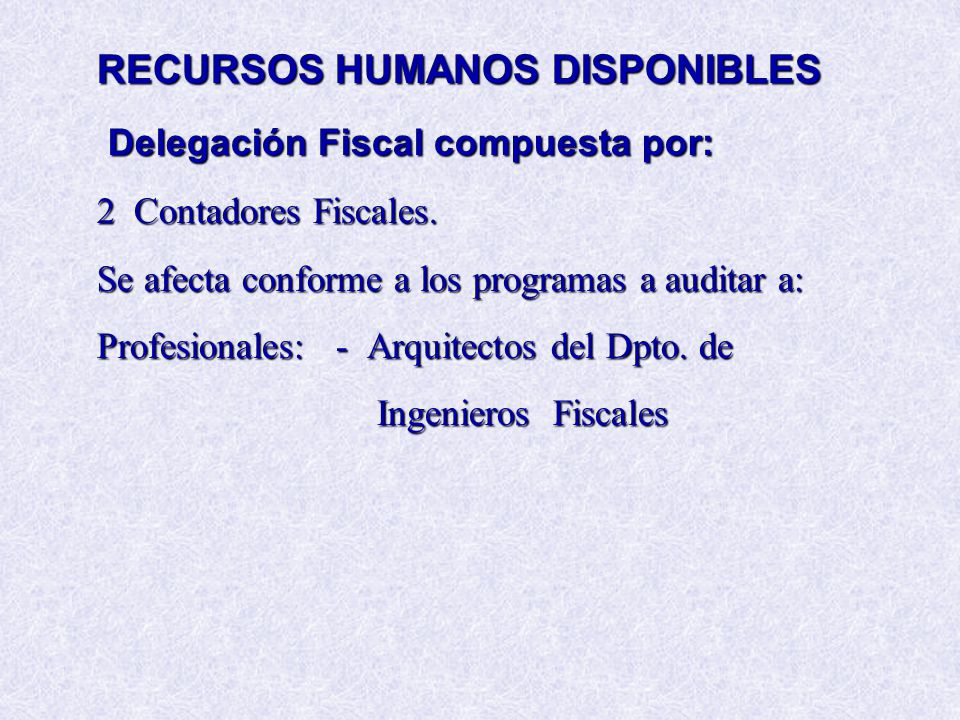 RECURSOS HUMANOS DISPONIBLES Delegación Fiscal compuesta por: 2 Contadores Fiscales. Se afecta conforme a los programas a auditar a: Profesionales: -