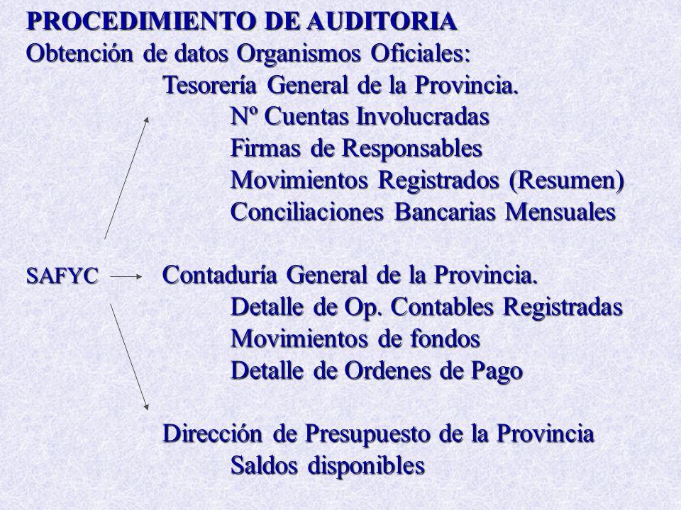 PROCEDIMIENTO DE AUDITORIA Obtención de datos Organismos Oficiales: Tesorería General de la Provincia. Nº Cuentas Involucradas Firmas de Responsables